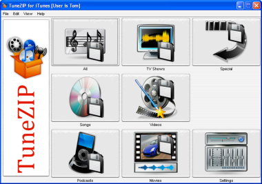 TuneZIP Main Screen